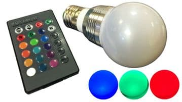 4 x COLOUR CHANGING E27 LED SPOT LIGHT with REMOTE CONTROL  16 colours x 4 modes